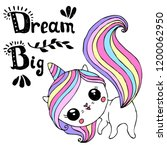unicorn cute character with... | Shutterstock .eps vector #1200062950