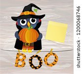owl in a suit on a halloween...   Shutterstock .eps vector #1200068746