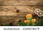 christmas food. gingerbread man ... | Shutterstock . vector #1200078679