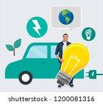 happy man holding an energy... | Shutterstock . vector #1200081316