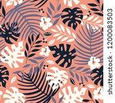 vector seamless tropical leaves ... | Shutterstock .eps vector #1200083503
