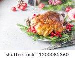 roast chicken or turkey for... | Shutterstock . vector #1200085360