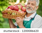 close up of old farmer with... | Shutterstock . vector #1200086620