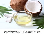 coconuts and coconut oil with... | Shutterstock . vector #1200087106