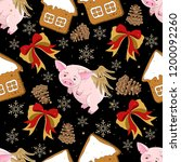 seamless pattern with christmas ... | Shutterstock .eps vector #1200092260