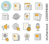 news flat line icons. set of... | Shutterstock .eps vector #1200098080