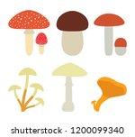set of isolated mushrooms on... | Shutterstock . vector #1200099340