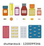 set of bottles of pills ... | Shutterstock . vector #1200099346