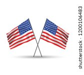 two crossed american waving... | Shutterstock .eps vector #1200106483