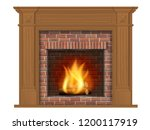 wooden classic fireplace with... | Shutterstock .eps vector #1200117919
