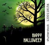 happy halloween background with ... | Shutterstock .eps vector #1200118156