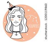 aquarius girl. sketch style...   Shutterstock .eps vector #1200119860
