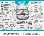restaurant cafe menu  template... | Shutterstock .eps vector #1200120313