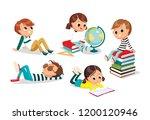 pupils. children having rest.... | Shutterstock .eps vector #1200120946