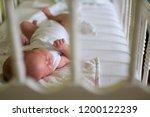 baby sleeping in white crib | Shutterstock . vector #1200122239