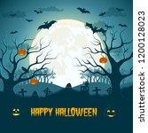 happy halloween composition... | Shutterstock .eps vector #1200128023