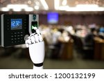 robot hand with fingerprint... | Shutterstock . vector #1200132199