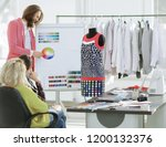 fashion designer discusses with ... | Shutterstock . vector #1200132376