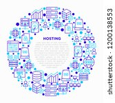 hosting concept in circle with... | Shutterstock .eps vector #1200138553
