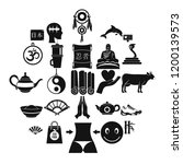 buddhism icons set. simple set...   Shutterstock .eps vector #1200139573
