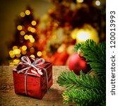 Christmas Present On Festive...