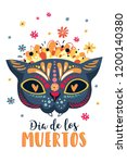 mexican sugar skull with... | Shutterstock .eps vector #1200140380