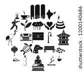 martial arts icons set. simple... | Shutterstock .eps vector #1200140686
