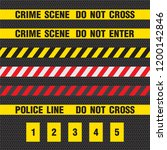 crime scene yellow tape  police ... | Shutterstock .eps vector #1200142846