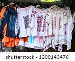 souvenir market at bran castle ... | Shutterstock . vector #1200143476