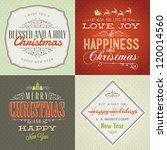 set of vintage styled christmas ... | Shutterstock .eps vector #120014560