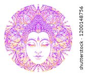buddha face over ornate mandala ... | Shutterstock .eps vector #1200148756