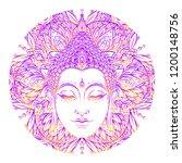 buddha face over ornate mandala ... | Shutterstock .eps vector #1200148756