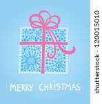 merry christmas card with gift... | Shutterstock .eps vector #120015010