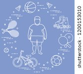 fat boy  badminton rackets and... | Shutterstock .eps vector #1200153010