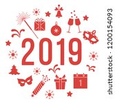 new year symbols. gifts ... | Shutterstock .eps vector #1200154093