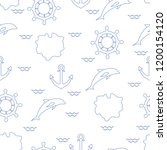 seamless pattern with dolphins  ... | Shutterstock .eps vector #1200154120