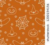 halloween 2019 vector seamless... | Shutterstock .eps vector #1200154156