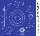 symbols of the popular fantasy... | Shutterstock .eps vector #1200154933