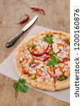 traditional spicy pizza with... | Shutterstock . vector #1200160876