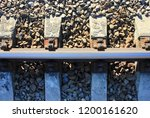 railroad track top view of...   Shutterstock . vector #1200161620