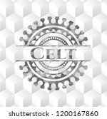 Stock vector celt realistic grey emblem with geometric cube white background 1200167860