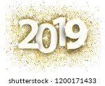 golden confetti with text 2019. ... | Shutterstock .eps vector #1200171433