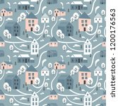 northern town. seamless pattern ... | Shutterstock .eps vector #1200176563