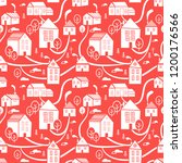 northern town. seamless pattern ... | Shutterstock .eps vector #1200176566
