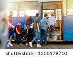 group of people entering in to... | Shutterstock . vector #1200179710
