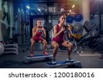 two young fit girls working out ... | Shutterstock . vector #1200180016