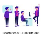 businessman looking at wrist... | Shutterstock .eps vector #1200185200