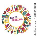 music festival. colorful music... | Shutterstock .eps vector #1200192850