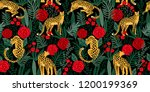 Stock vector vestor seamless pattern with leopards tropical leaves and roses trendy style 1200199369