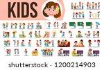 kids children set vector. funny ... | Shutterstock .eps vector #1200214903